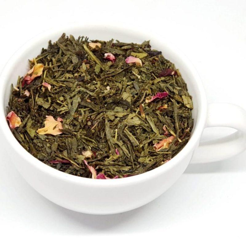 Zielona Herbata Japońska Wiśnia z dodatkiem płatkóew róży