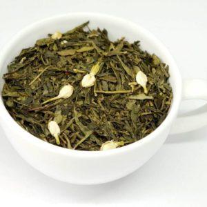 Jaśminowa to herbata zielona z dodatkiem kwiatów jaśminu