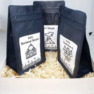 Zestaw Kaw Speciality Kawy Azji Java Jampit, India Plantation, India Mmonsooned Malabar